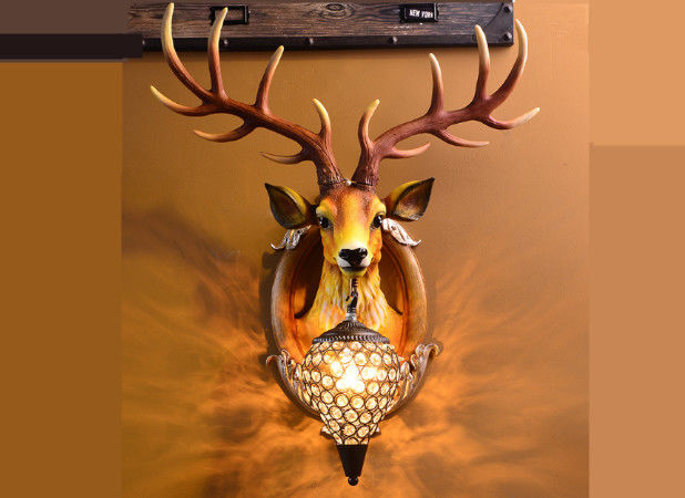 Durable Led Deer Head Wall Lamp Resin Glass Stag Head Wall Light Hand - Painted